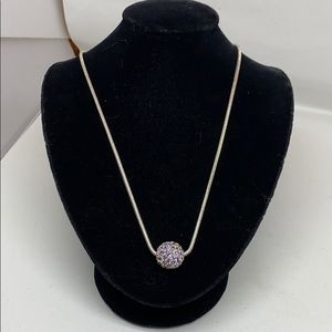 Monet silver tone snake chain with crystal bead.